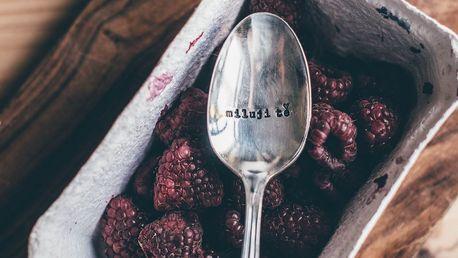 La de da! Living Postříbřená čajová lžička Miluji Tě, stříbrná barva, kov