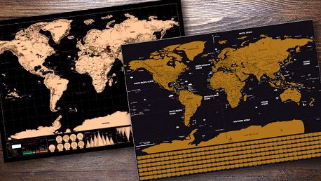 Stírací mapa světa s hliníkovou vrstvou