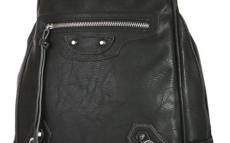 Malý koženkový batoh s přední kapsou černá