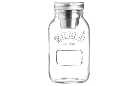 Cestovní skleněná sklenice na svačinu s miskou na dresign Kilner, 1 l