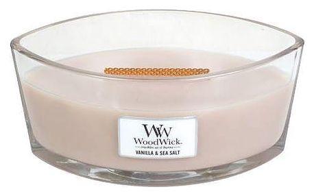 WoodWick Vonná svíčka WoodWick - Vanilka a mořská sůl 454gr, béžová barva, sklo, vosk