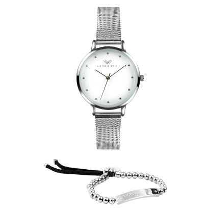 Set dámských hodinek s kovovým řemínkem a náramku Victoria Walls