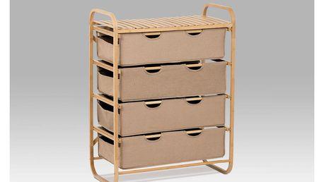 Regál bambusový 4-šuplíky (šuplíky v hnědé barvě) DR-018B Autronic
