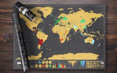 Černá stírací mapa světa pro vášnivé cestovatele