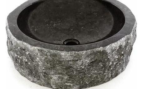 Divero 38538 Umyvadlo z přírodního kamene - černý mramor