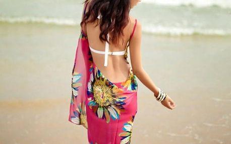 Plážové pareo s květinovým vzorem - 6 barev