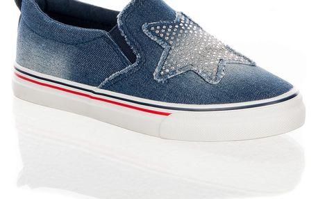 Fashion world Dámské džínové boty slip on Stars s krystalky