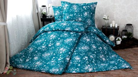XPOSE ® Bavlněné povlečení na dvě lůžka MARIANA - temně modrá 140x200, 70x90