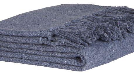IB LAURSEN Bavlněný přehoz Throw blue 130x160cm, modrá barva, textil