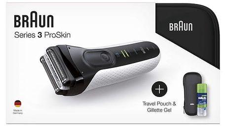 Holicí strojek Braun Series 3 3040s W&D +toaletní taška+pouzdro+gel na holení bílý