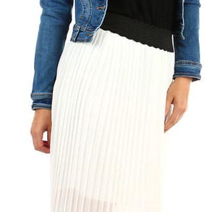 Dlouhá dámská plisovaná sukně skládaná bílá