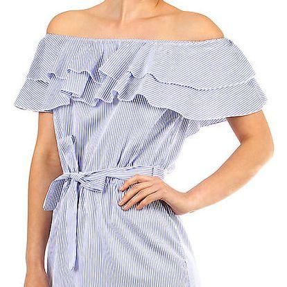 Dámské proužkované šaty s volánem modrá
