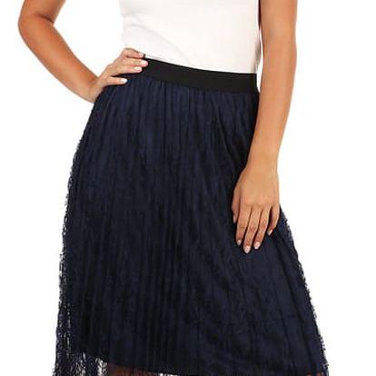 Dámská sukně s vrstvou krajky tmavě modrá