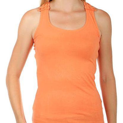 Dámské bavlněné tílko s krajkou světle oranžová