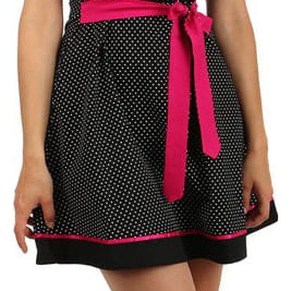 Bavlněné šaty s puntíky a páskem černá