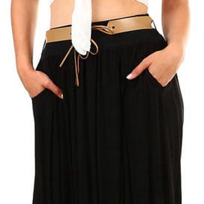 Dámská maxi sukně s kapsami černá