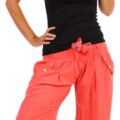 Harémové dámské kalhoty korálová