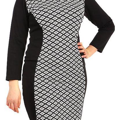 Bavlněné šaty s dlouhým rukávem - pro plnoštíhlé šedá