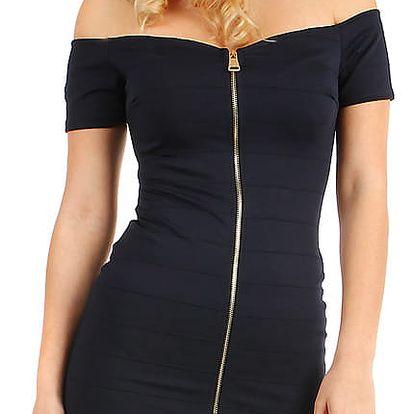 Krátké přiléhavé šaty se zipem tmavě modrá