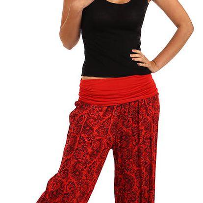 Dámské vzorované harémové kalhoty červená