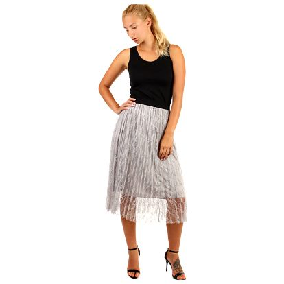 Dámská sukně s vrstvou krajky šedá