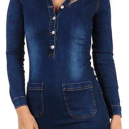 Dámské džínové šaty dlouhý rukáv tmavě modrá