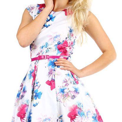 Áčkové dámské šaty s květinovým potiskem bílá