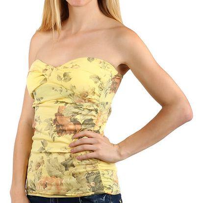 Dámský top s květinovým vzorem žlutá