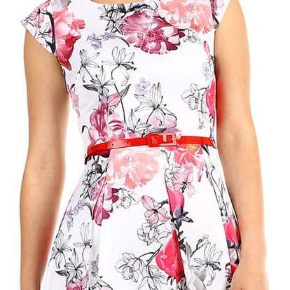 Dámské květované šaty áčkového střihu bílá