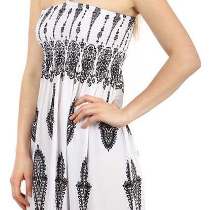 Vzdušné letní šaty s ozdobou bílá/černá
