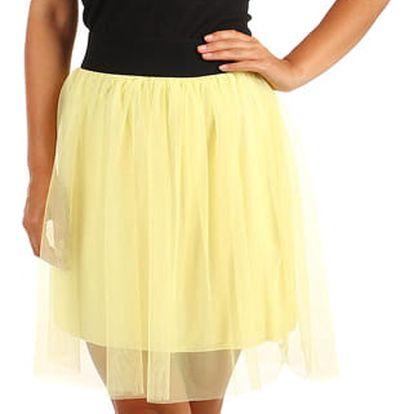 Krátká dámská tylová sukně žlutá