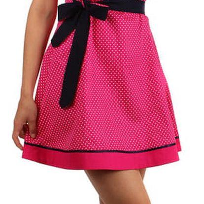 Bavlněné šaty s puntíky a páskem růžová