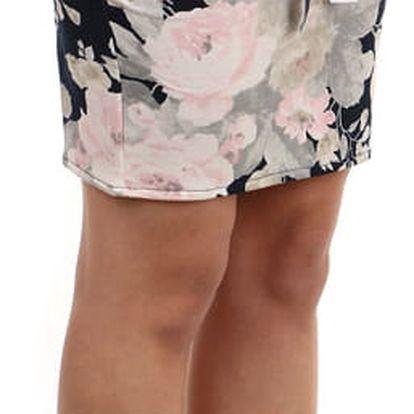 Dámská pouzdrová sukně s květinovým vzorem béžová