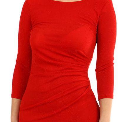 Třpytivé šaty s 3/4 rukávem červená