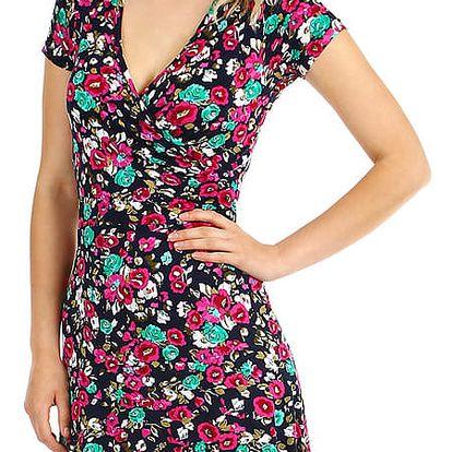 Dámské šaty s květinovým vzorem zelená