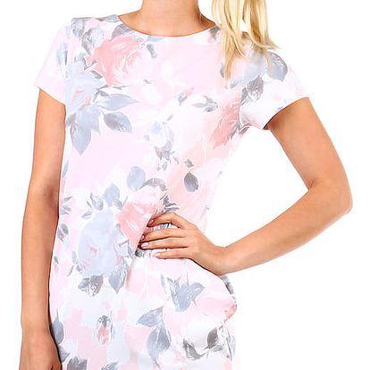 Dámské květované bavlněné šaty růžová