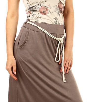 Dámská dlouhá jednobarevná sukně hnědá