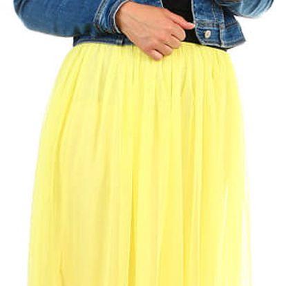 Dlouhá dámská tylová sukně žlutá