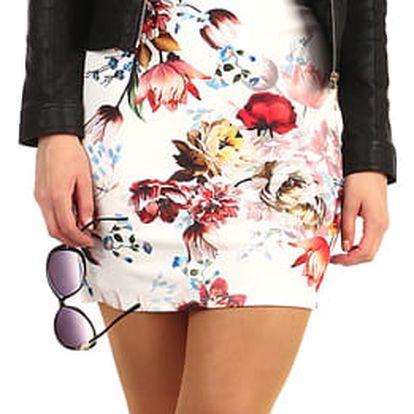 Mini šaty s květinovým vzorem bílá