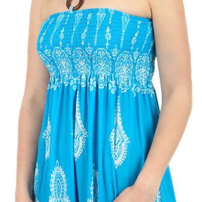 Vzdušné letní šaty s ozdobou světle modrá