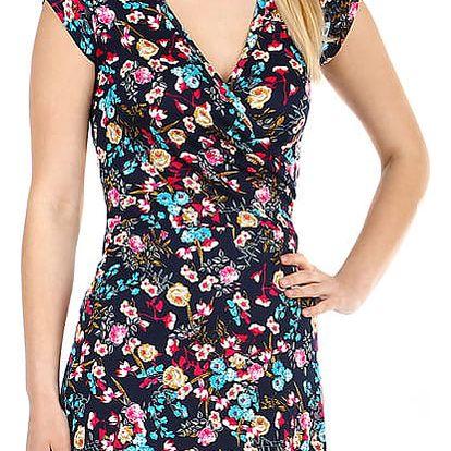 Dámské šaty s květinovým vzorem modrá