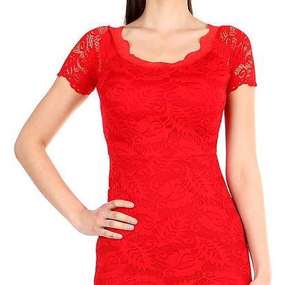Dámské krajkované šaty s krátkým rukávem červená