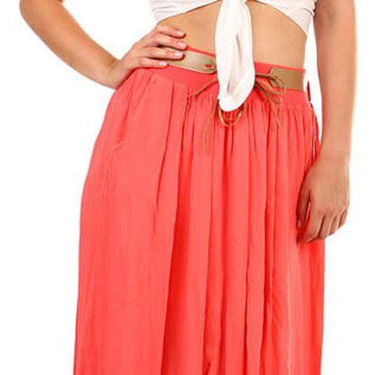 Dámská maxi sukně s kapsami korálová