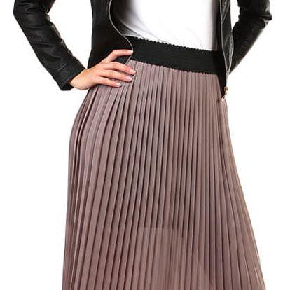 Dlouhá dámská plisovaná sukně světle růžová