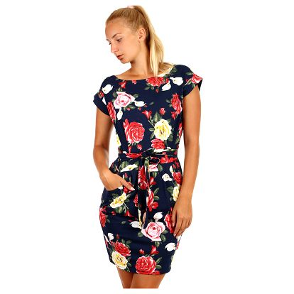Bavlněné květinové šaty s krátkým rukávem černá