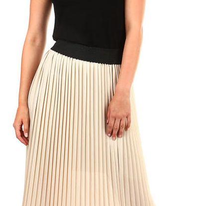 Dlouhá dámská plisovaná sukně skládaná béžová