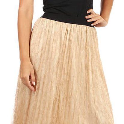 Dámská sukně s vrstvou krajky béžová
