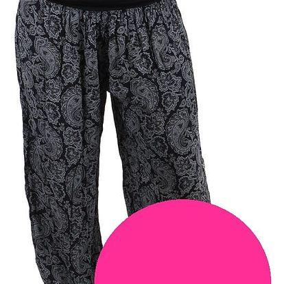 Dámské vzorované harémové kalhoty růžová