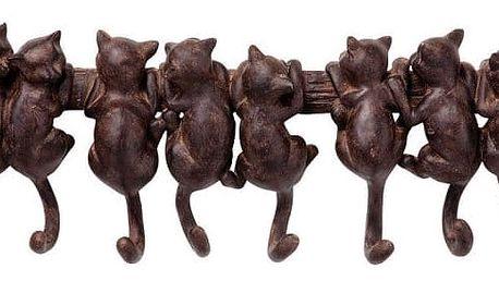 Hnědý nástěnný věšák Kare Design Cats