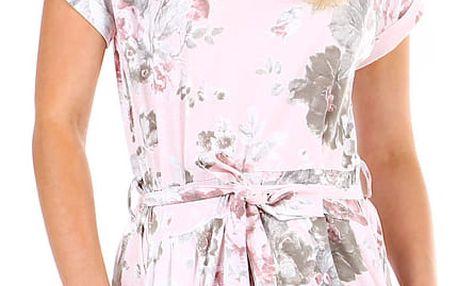 Dámské květované šaty s páskem růžová